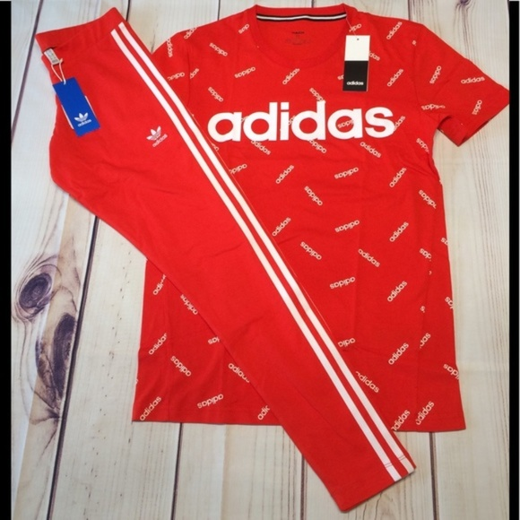 New Adidas Red Outfit Leggings Tshirt
